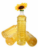 Sunflower oil in bottles — Stock Photo