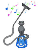 Grey cat sits on a vacuum cleaner — Stock Vector