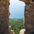 Stock Photo: View through wall opening of Monolit