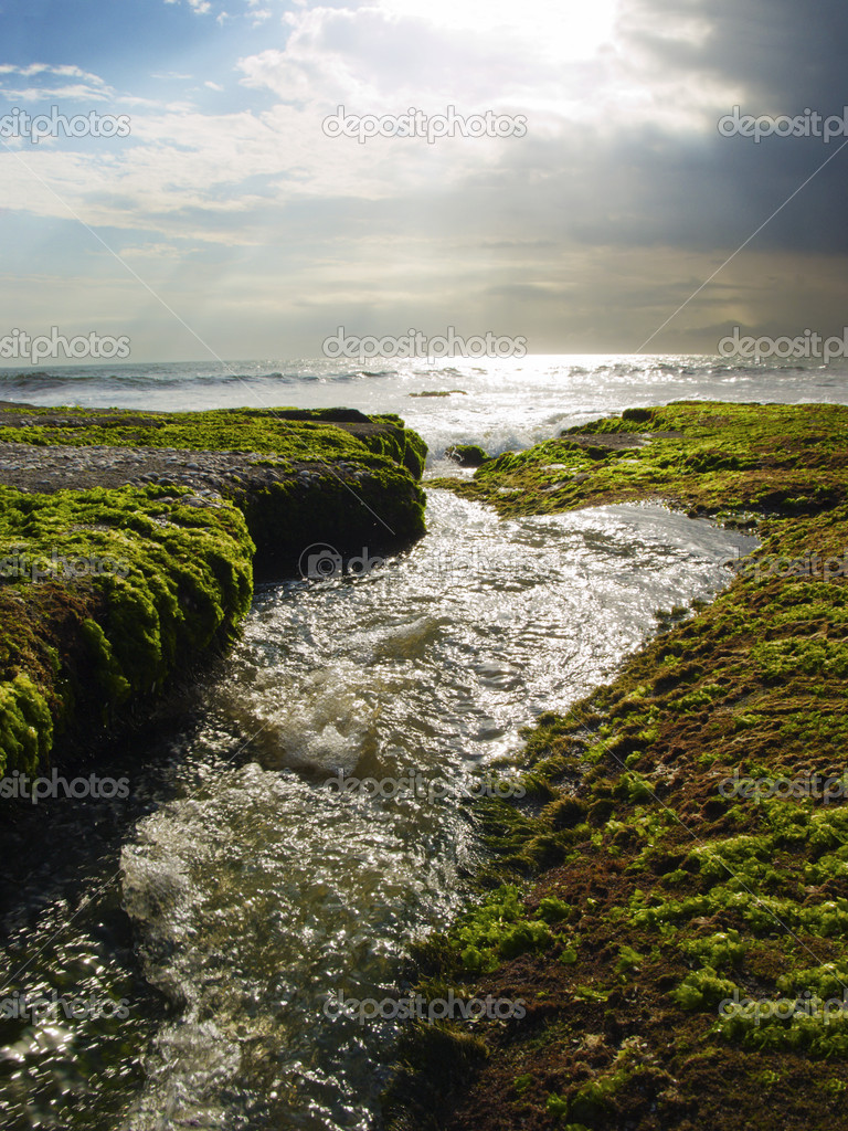 Shiny stream running through rocky terrain. Bali ocean coast.  Stock Photo #1173277