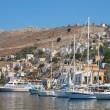Symi town moorage — Stock Photo
