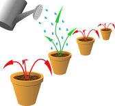 Flèches dans les pots de fleurs — Vecteur