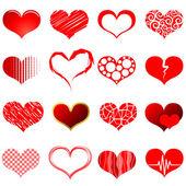 Kırmızı kalp şekilleri — Stok Vektör