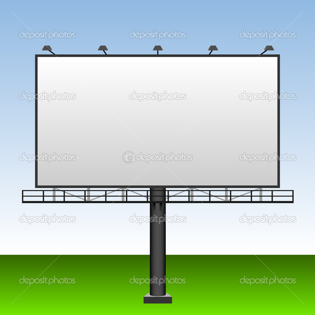 Big blank outdoor advertising billboard with blue sky behind. — Stock Vector #1577619