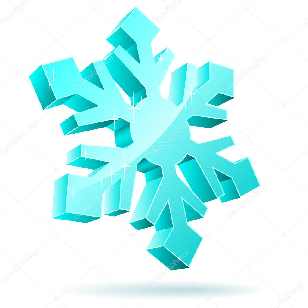 Abstract 3D vector snowflake isolated on white background. — Vettoriali Stock  #1578539