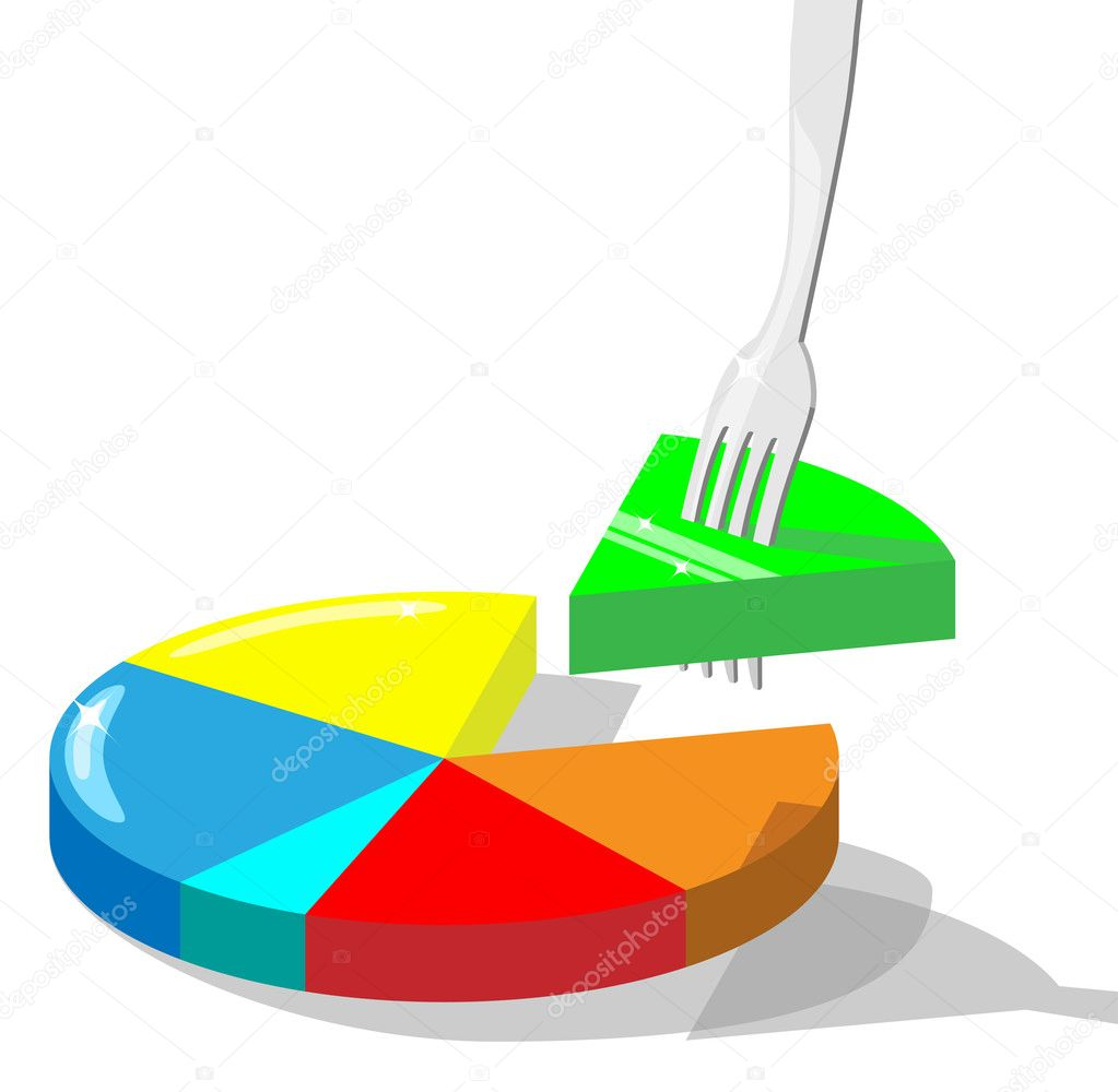 Concept vector illustration symbolizing taking market  share. Section of diagram stuck on a fork. — Stock Photo #1921856