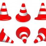 Set of traffic-cones — Stock Vector