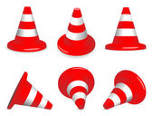 Set of traffic-cones — Stock Vector