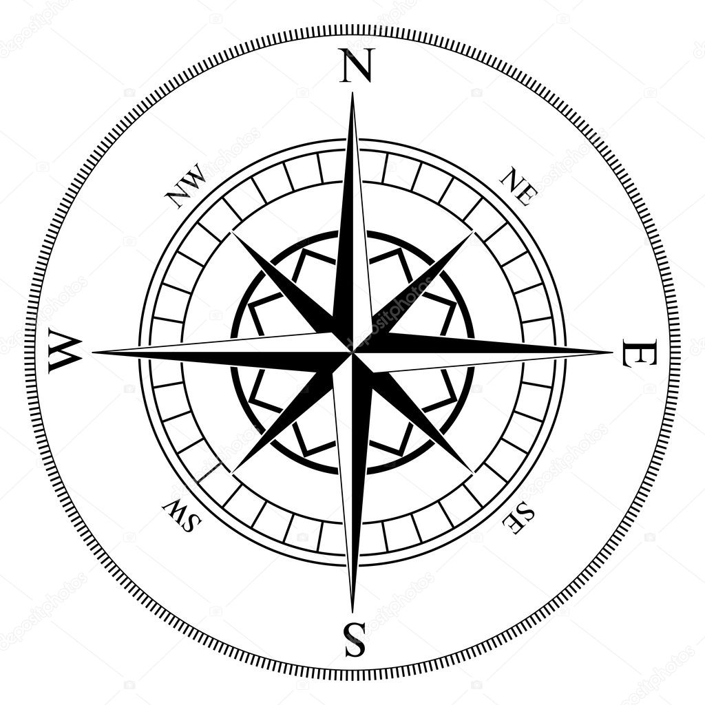 Compass winds rose black and white vector shape. — Stock Vector #2376693