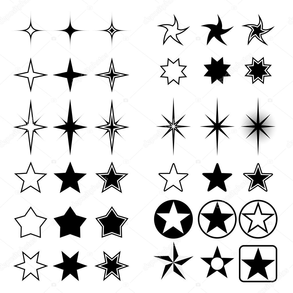 Vector collection of stars shapes isolated on white background. — Stock Vector #2376786