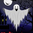 Halloween card with flying ghost - Stockvectorbeeld