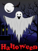Halloween card with flying ghost — Stock Vector