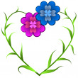 Flowers forming heart — Stock Vector