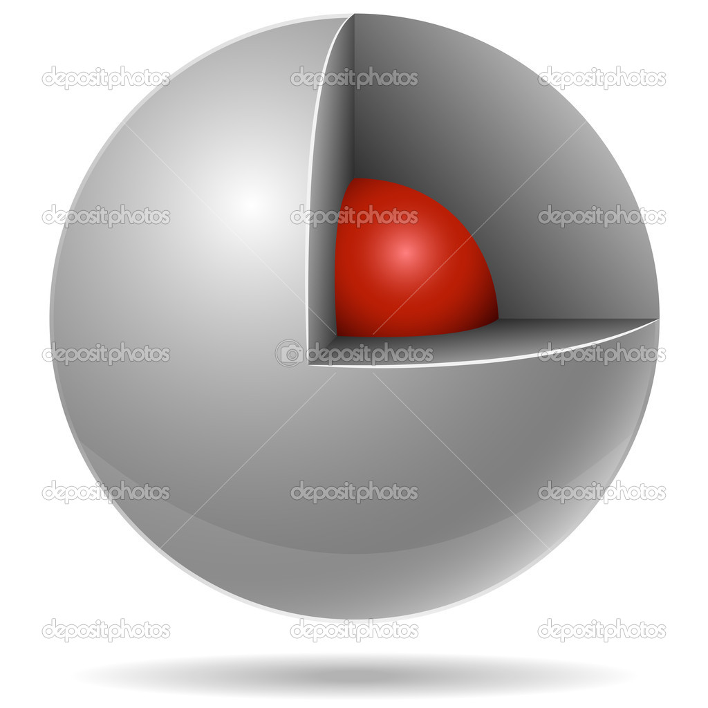 Cross section of white sphere with red one inside isolated on white background. Core concept. — Stock Vector #2556317