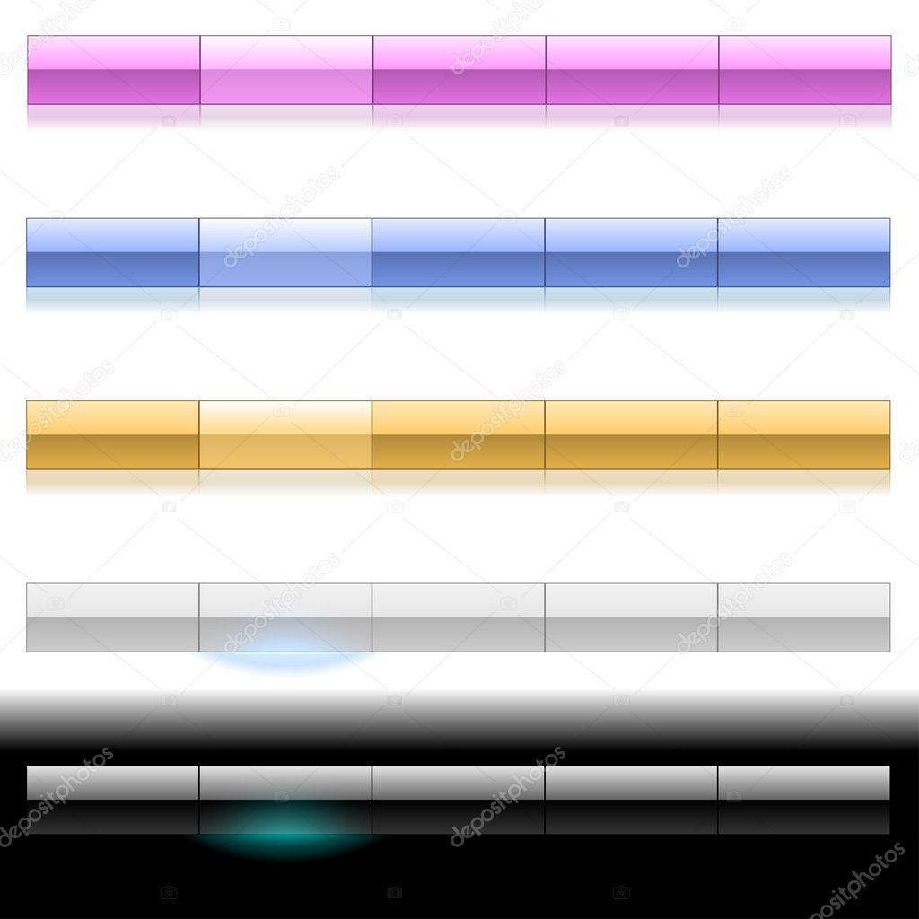 Blank glossy plastic menu bars in different colors. EPS10 file. — Stock Vector #2614335