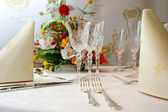 Catering set table in restaurant — Stock Photo