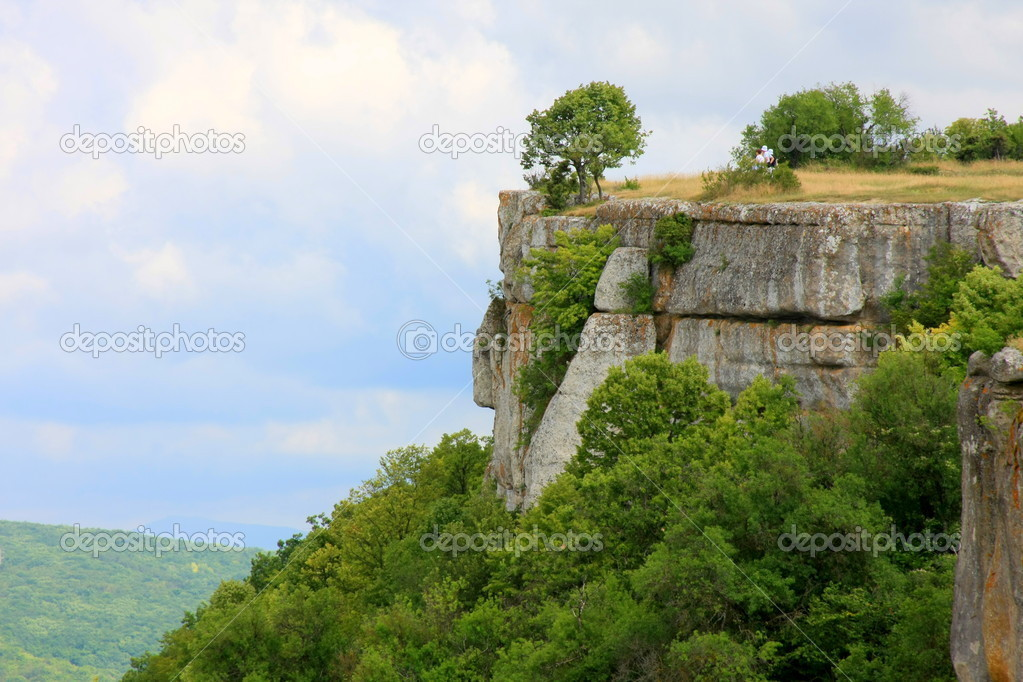 Tree on top of a cliff in Crimea — Stock Photo #1206840