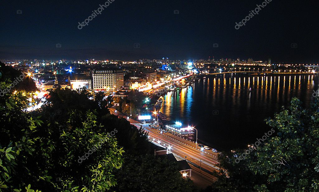 Night city Kiev top view, Ukraine  — Stock Photo #1507137