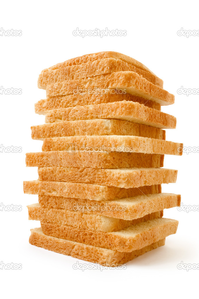 Meal. The cut bread on a white background  Stock Photo #1169580