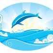 Stock Vector: Dolphin and sea
