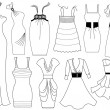 Stock Vector: Fashion dresses