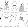 Fashion dresses — Stockvectorbeeld