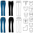 Jeans - Imagens vectoriais em stock