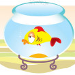Cartoons sad fish in aquarium - Stock Vector