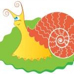 Snail on green leaf — Stock Vector #1176860