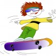 Boy and skate - Stock Vector