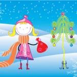 Flicka. Christmas vykort — Stockvektor