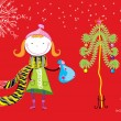 Girl. Christmas postcard — 图库矢量图片