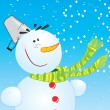 Snowman .Postcard - Stock Vector