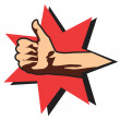 Thumbs up.Vector hand on white - Stockvektor