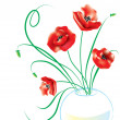 Poppy in glass vase - Stock Vector