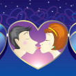 Love kiss.Man and woman kissing - Stockvectorbeeld