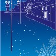 Blue winter street - Stock Vector