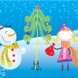 Girl and snowman. Christmas postcard — Stock Vector