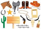 Cowboy elemennts. Texas life — Stock Vector