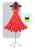 Fashion red romantic dress — Stock Vector