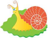 Snail on green leaf — Stock Vector