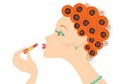 Face woman with lipstick.Make up — Stockvector