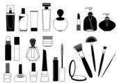 Cosmetics. Silhouettes — Stock Vector