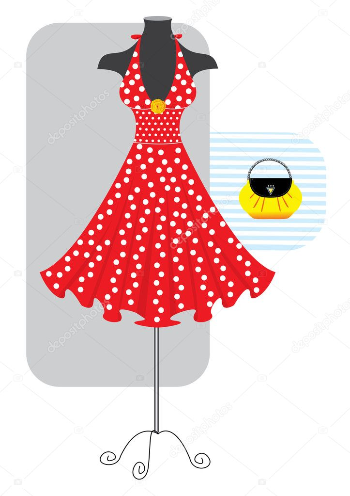 Vector fashion red  dress and yellow bag  — Stock Vector #1176428