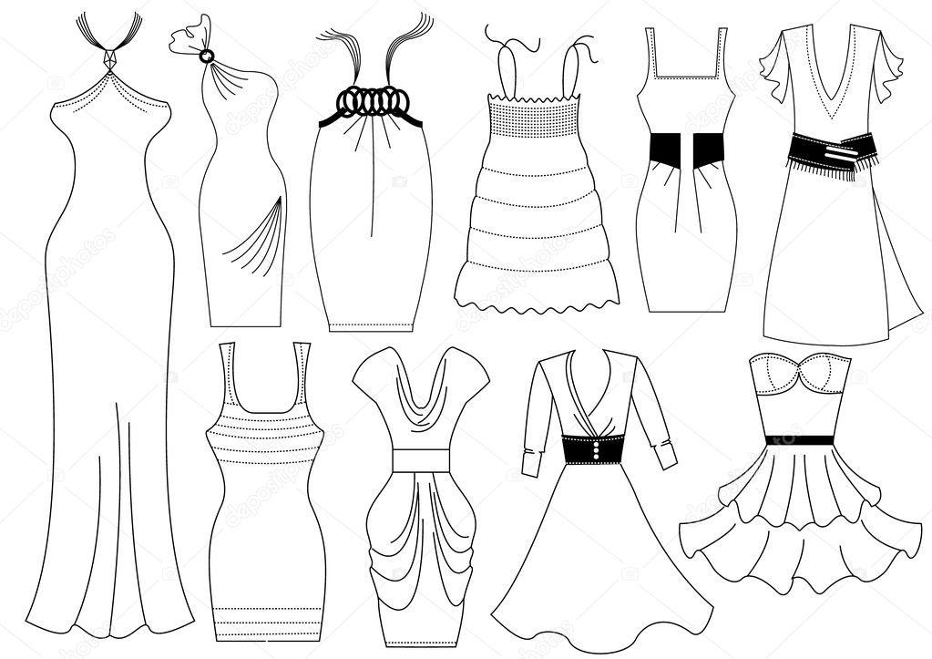 Design Dresses Model Coloring Pages