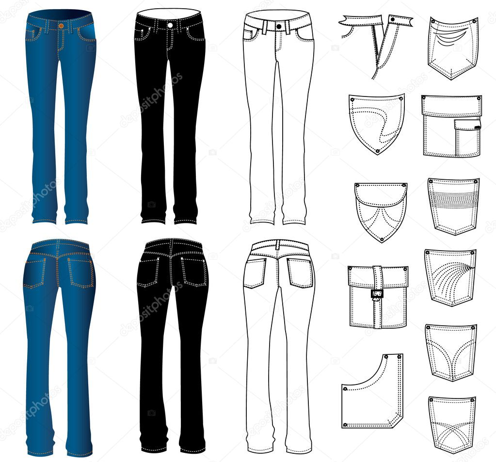 Vector jeans for women  Stock Vector #1176565
