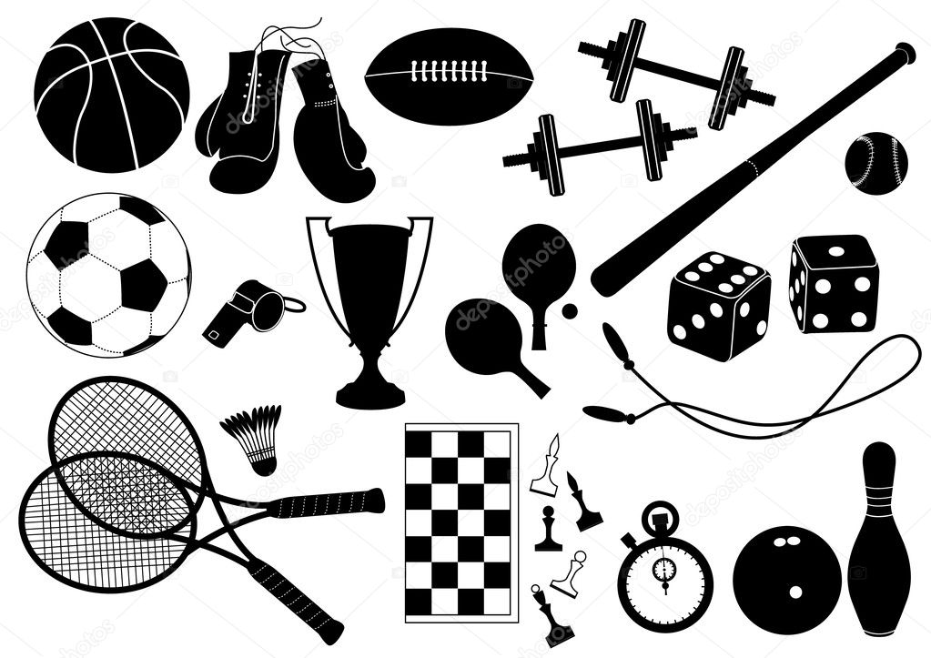 Vector silhouettes of sport elements on white — Stock Vector #1178799