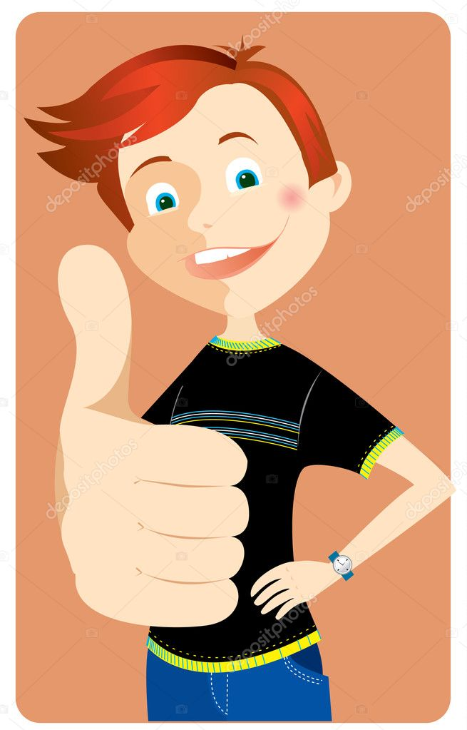 Vector teen smiling and giving the Ok   Stock Vector #1179751
