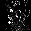 Vector floral background on black - Stock Vector