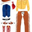Cowboy clothes on white. — Stock Vector #1217404